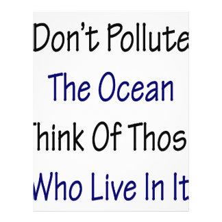Verunreinigen Sie nicht den Ozean denken an die, d Flyer