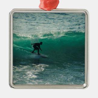 vervollkommnen Sie Welle Quadratisches Silberfarbenes Ornament