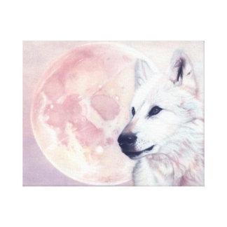 Verwandter Geist Wolf und Mond-Leinwand-Druck Leinwanddruck