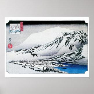 Verweilender Schnee - Vintage Hiroshige Drucke