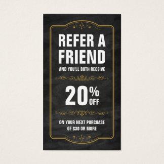Verweisen Sie eine Freund-Tafel-mutige Empfehlung Visitenkarten