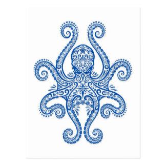 Verwickelte blaue Krake Postkarte