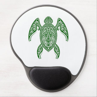 Verwickelte grüne Meeresschildkröte auf Weiß Gel Mouse Pads