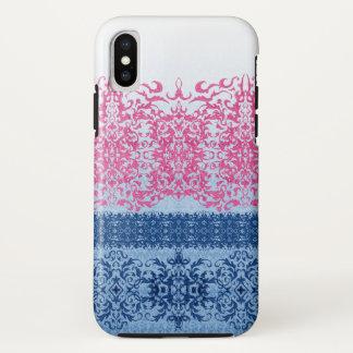 Verwickelte Lilie in rosa und blauem starkem iPhone X Hülle