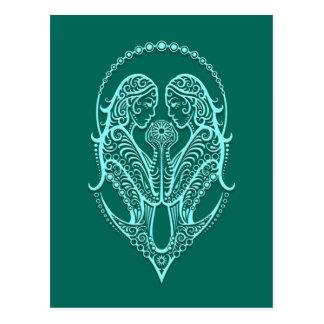 Verwickelter aquamariner blauer postkarte