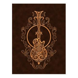 Verwickelter Brown-Gitarren-Entwurf Postkarte