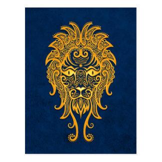 Verwickelter gelber Löwe-Tierkreis auf Blau Postkarte
