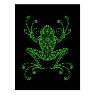 Verwickelter grüner Baum-Frosch auf Schwarzem Postkarte