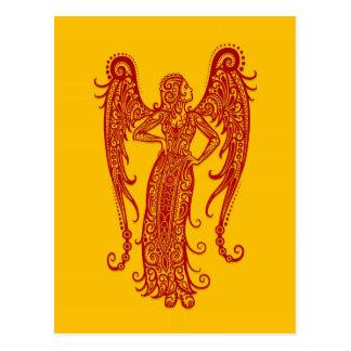 Verwickelter roter Jungfrau-Tierkreis auf Gelb Postkarte