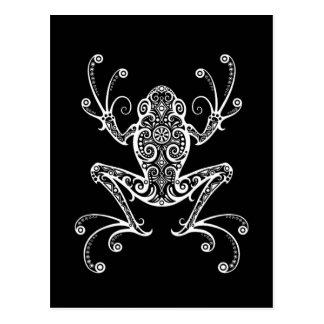 Verwickelter weißer Baum-Frosch auf Schwarzem Postkarte
