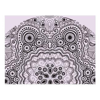 Verwickeltes Doily-Muster auf Rosa Postkarte