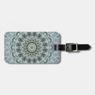Verwickeltes Grau-und Aqua-Mandala-Kaleidoskop Gepäckanhänger