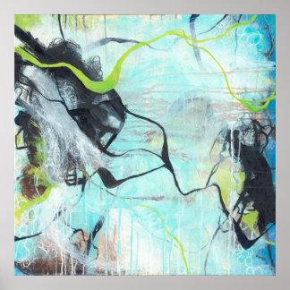 Verwirrt - quadratische blaue abstrakte Kunst Poster