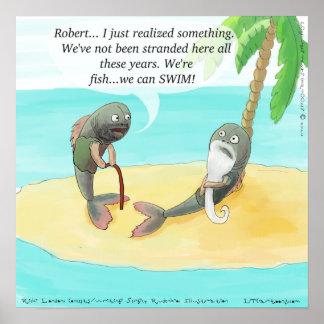 Verwirrte Fische auf Insel-lustigem Plakat