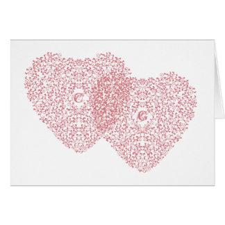 Verwirrte rosa Herz-Karte Karte