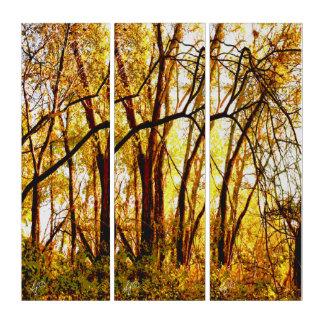 Verwirrtes Holz im goldenen Herbst-Ruhm Triptychon