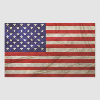 Verwitterte amerikanische Flagge Rechteckiger Aufkleber