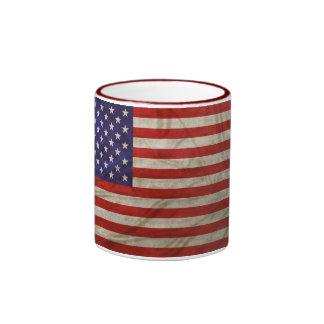 Verwitterte amerikanische Flagge Ringer Tasse