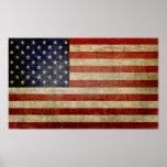 Verwitterte, beunruhigte amerikanische Flagge Posterdruck