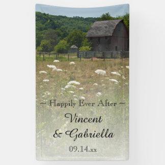 Verwitterte Scheunen-Land-Hochzeit Banner