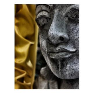 Verwitterte Statue-Gesichts-und Postkarte