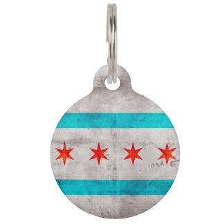 Verwitterte Vintage Chicago-Staats-Flagge Tiernamensmarke