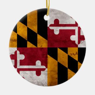 Verwitterte Vintage Maryland-Staats-Flagge Keramik Ornament
