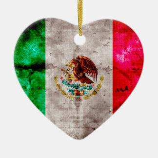 Verwitterte Vintage Mexiko-Flagge Keramik Ornament