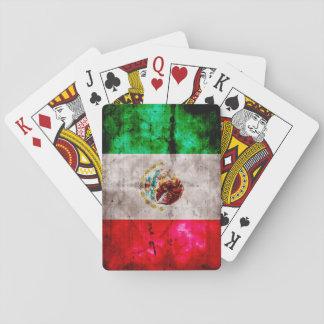 Verwitterte Vintage Mexiko-Flagge Spielkarten