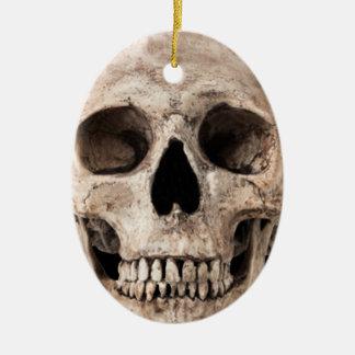 Verwitterter alter Schädel Ovales Keramik Ornament