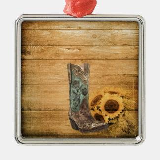 Verwitterter Western-Landsonnenblume-Cowboystiefel Silbernes Ornament