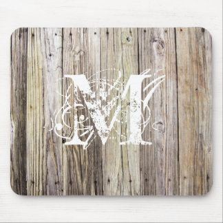 Verwittertes Holz mit Shabby Chic-Monogramm Mousepads