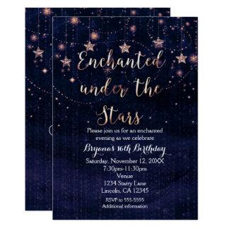 Verzaubert unter den Sternen lila u. Goldeinladung Karte