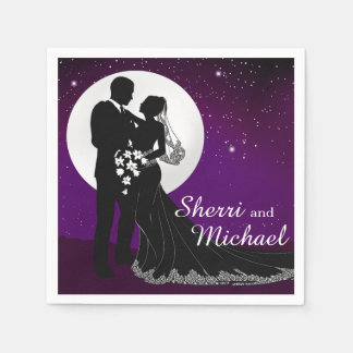 Verzauberte Abends-Nachtzeit, die | lila Wedding Papierserviette