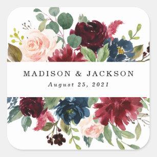 Verzauberte Blumen Personalisierte Hochzeit Quadratischer Aufkleber
