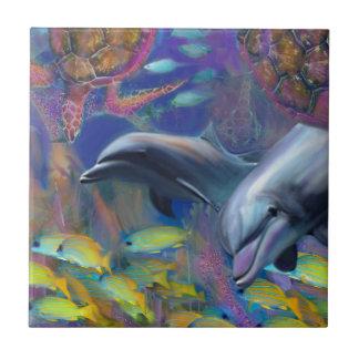 Verzauberte Delphine Kleine Quadratische Fliese