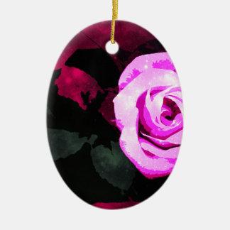 Verzauberte Rose Ovales Keramik Ornament