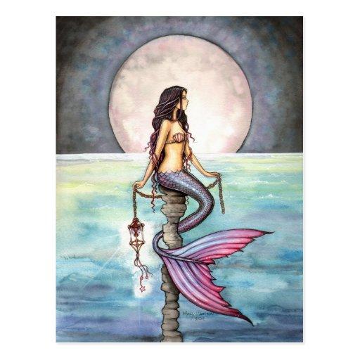 Verzauberte Seemeerjungfrau-Fantasie-Kunst Postkarte