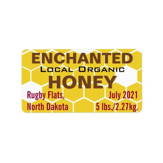 Verzaubertes lokales Bio Honig-Glas Adressetikett