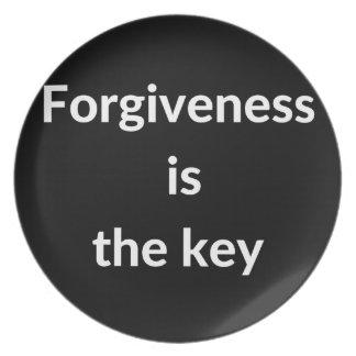 Verzeihen ist der Schlüssel Melaminteller