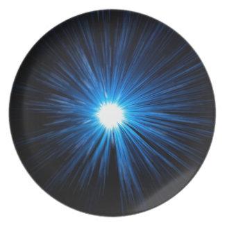 Verzerrungsgeschwindigkeitsblau Melaminteller
