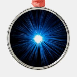 Verzerrungsgeschwindigkeitsblau Silbernes Ornament