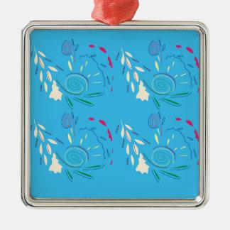 Verziert blauen ursprünglichen Entwurf Silbernes Ornament