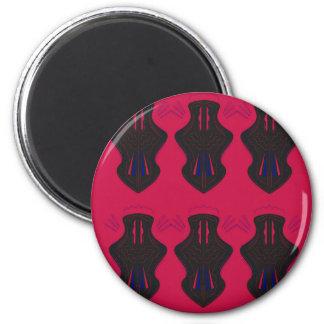 Verziert Vintages schwarzes Rot Runder Magnet 5,7 Cm