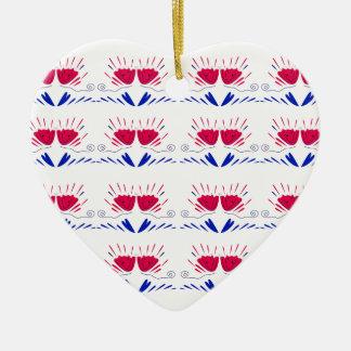 Verziert weiße Tulpen rote RETRO TULPEN Keramik Ornament