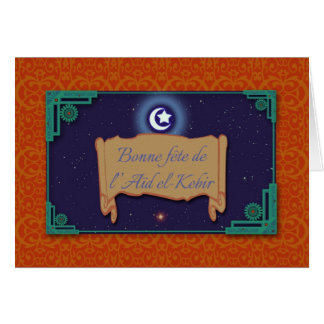 Verzierte Aïd EL-Kebir Karte auf französisch, Eid