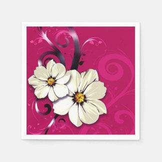 Verzierte Blumen blühen   Fuchsie Serviette