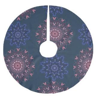 Verzierte Boho Mandala-Marine und Rose Polyester Weihnachtsbaumdecke