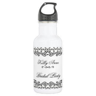 Verzierte Eleganz-Wasser-Schwarzweiss-Flasche Edelstahlflasche
