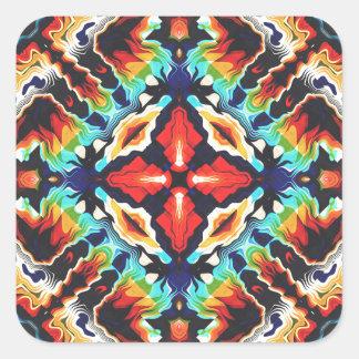 Verzierte geometrische Farben Quadratischer Aufkleber